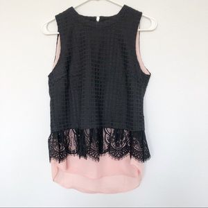 Anthro Greylin black pink layered top lace small